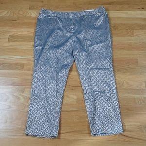 Ankle Crop Career Metallic Sea Blue Tan Pattern